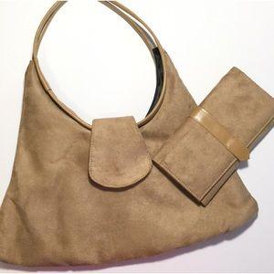 Handbags - Faux Suede Shoulder Bag and Wallet